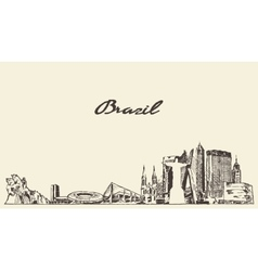 Brazil skyline drawn sketch vector image vector image