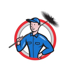 Chimney sweeper cleaner worker retro vector