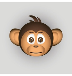 Chimpanzee little monkey head cartoon character vector