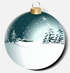 Christmas ball with winter landscape vector image