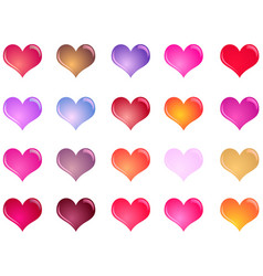 colorful shiny hearts collection vector image