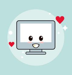 Computer kawaii cartoon happy cute icon vector
