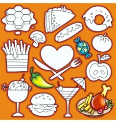 doodle food elements vector image