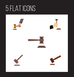 Flat icon lawyer set of law justice crime and vector