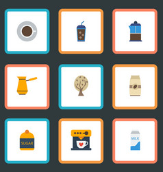 Flat icons ibrik sweetener coffeemaker and other vector