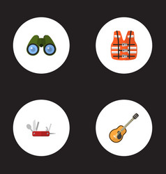 Flat icons lifesaver penknife zoom and other vector