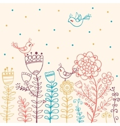 Flowers and Birds in vector image