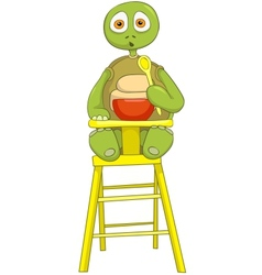Funny Turtle Baby Eating vector image vector image