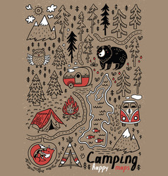hand drawn maps print for camping and vector image vector image