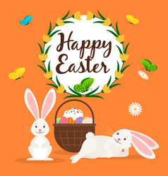 Happy easter rabbits and basket card vector