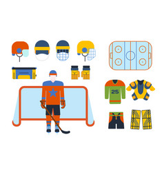 Hockey uniform and accessory in flat style vector