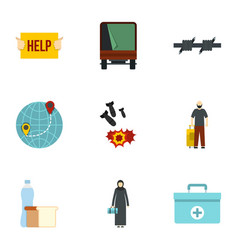 Illegal immigrants icons set flat style vector