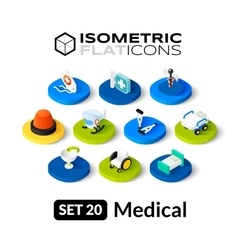 Isometric flat icons set 20 vector image