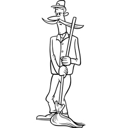 Janitor with broom cartoon coloring page vector