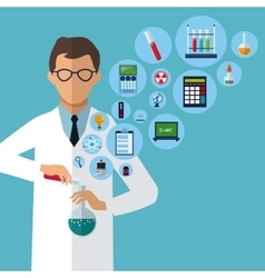 Medical scientist experiment laboratory supplies vector