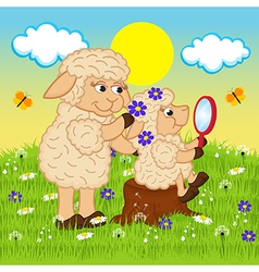 Mother sheep adorns head daughter vector