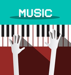 Music - Hands Playing Piano Keyboards vector image vector image