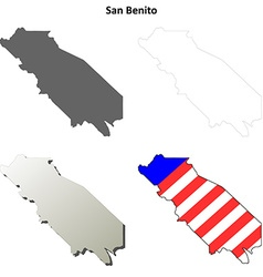 San benito county california outline map set vector
