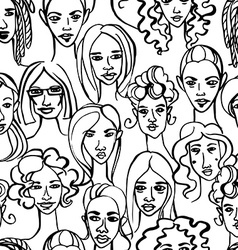 Seamless pattern of female doodle hand drawn vector