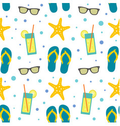 Seamless pattern with summer beach elements vector