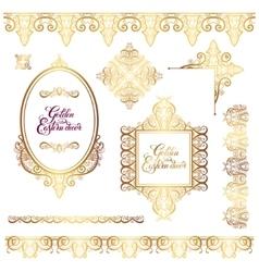set of floral golden eastern decor frame elements vector image vector image
