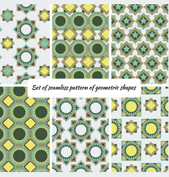 set of seamless pattern of geometric shape vector image vector image