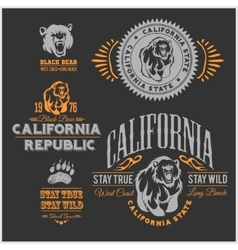 Set of stylish retro badges with bears - vector image