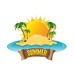 summer label with island tropical beach vector image