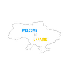 thin line welcome to ukraine map vector image vector image