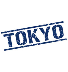 Tokyo blue square stamp vector