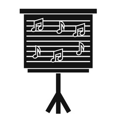 Whiteboard with music notes icon simple style vector