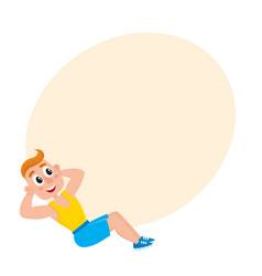 Young man doing sit ups sport exercises training vector