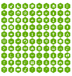 100 kids activity icons hexagon green vector