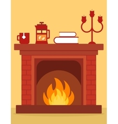 Cozy fireplace on room vector
