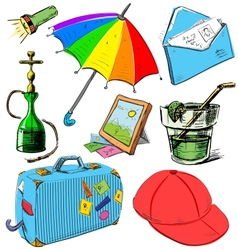 Vacation colorful set vector