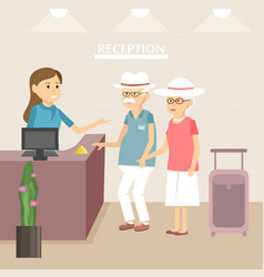 Elderly tourists at hotel reception vector