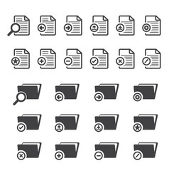 Big data icon set documents and file folder vector