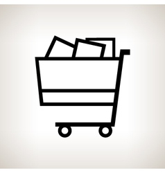 Silhouette cart on a light background vector