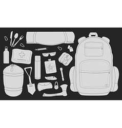 Camping items set chalk vector