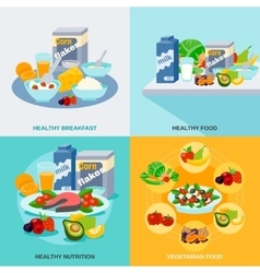 Healthy food flat set vector