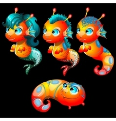 Four bright sea creatures male and female vector