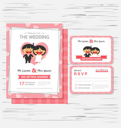 Wedding invitation template cartoon design vector