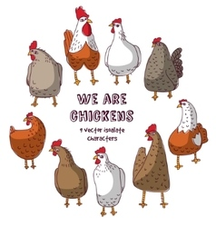 Birds chicken group isolate objects crazy vector
