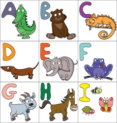 Alphabet with cartoon animals 1 vector image vector image