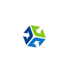 arrow shape cube color logo vector image