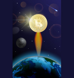 bitcoin is fast growing crypto currency is vector image
