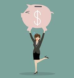 Business woman lifting a piggy bank vector