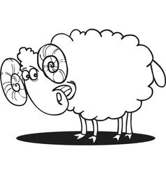 cartoon of happy ram for coloring book vector image vector image