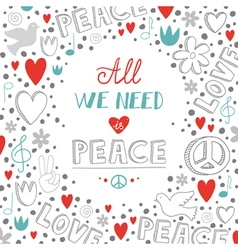 Doodle white love and peace theme background with vector