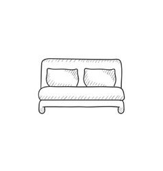 Double bed sketch icon vector
